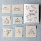 Wrenbirdarts DIY moth mending embroidery transfers – stick on and wash off