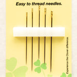 Clover self-threading needles for hand sewing – 5-pack assorted sizes