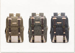 Ywen Waxed Canvas and Leather Camera Back Pack|Sach Gefn Camera Canfas Cwyr a Lledr Ywen