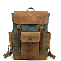 Boise Lake Green Waxed Canvas and Leather Back Pack|Sach Gefn Canfas Cwyr a Lledr Boise
