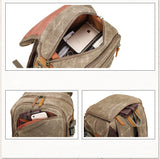Tryfan Waxed Canvas and Leather Camera Back Pack|Sach Gefn Camera Canfas Cwyr a Lledr Tryfan