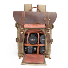 Sherwood Waxed Canvas and Leather Camera Back Pack|Sach Gefn Camera Canfas Cwyr a Lledr Sherwood