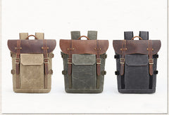 Blue Grey Sherwood Waxed Canvas and Leather Camera Back Pack|Sach Gefn Camera Canfas Cwyr a Lledr Sherwood