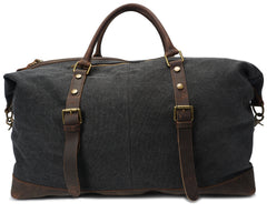 Cassiar Canvas and Leather Travel Bag|Bag Teithio Canfas a Lledr Cassiar