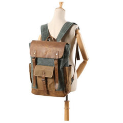Lake Green Boise Waxed Canvas and Leather Back Pack|Sach Gefn Canfas Cwyr a Lledr Boise