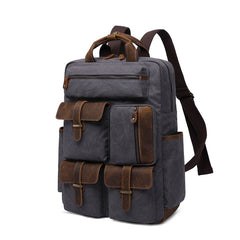 Hunter Canvas and Leather Back Pack|Bag Cefn Hunter Cynfas a Lledr