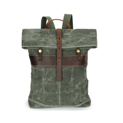 Waxed Canvas and Leather Back Pack|Sach Gefn Canfas Cwyr a Lledr