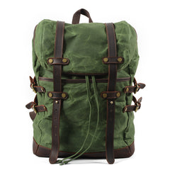 Hiker Waxed Canvas and Leather Back Pack|Sach Gefn Canfas Cwyr a Lledr Hiker