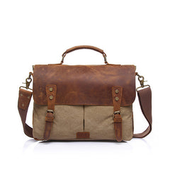 Elgan Leather and Canvas Messenger Bag|Bag Negesydd Cynfas a Lledr Elgan
