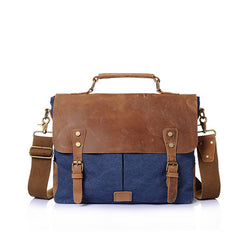 Eryri Leather and Canvas Messenger Bag|Bag Negesydd Cynfas a Lledr Eryri