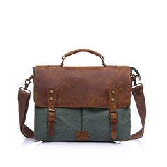 Elain Leather and Canvas Messenger Bag|Bag Negesydd Cynfas a Lledr Elain