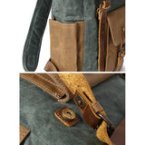 Boise Waxed Canvas and Leather Back Pack|Sach Gefn Canfas Cwyr a Lledr Boise - Lledar