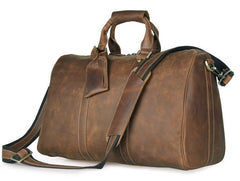Deluxe Crazy Horse Mid Brown Travel Bag|Bag Teithio Crazy Horse Brown
