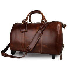Deluxe Wheeled Brown Travel Bag|Bag Teithio Brown ag Olwynion