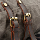 Hiker Waxed Canvas and Leather Back Pack|Sach Gefn Canfas Cwyr a Lledr Hiker - Lledar