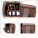 Aspen Waxed Canvas and Leather Camera Back Pack|Sach Gefn Camera Canfas Cwyr a Lledr Aspen