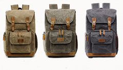 Alban Waxed Canvas and Leather Camera Back Pack|Sach Gefn Camera Canfas Cwyr a Lledr Alban