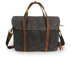 Gwrhyr Waxed Canvas and Leather Laptop Bag|Bag Gliniadur Canfas Cwyr a Lledr Gwrhyr
