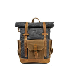 Afan Blue Grey Waxed Canvas and Leather Back Pack|Sach Gefn Canfas Cwyr a Lledr Afan