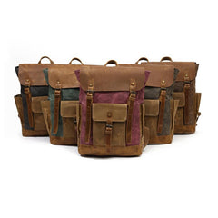 Boise Waxed Canvas and Leather Back Pack|Sach Gefn Canfas Cwyr a Lledr Boise