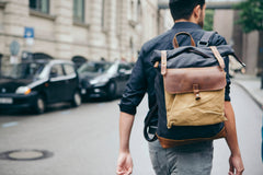 Elan Waxed Canvas and Leather Back Pack|Sach Gefn Canfas Cwyr a Lledr Elan