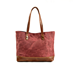 Eiry Waxed Canvas Tote Bag|Bag Tote Canfas Cwyr a Lledr Eiry