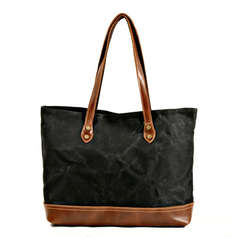 Eigra Waxed Canvas Tote Bag|Bag Tote Canfas Cwyr a Lledr Eigra