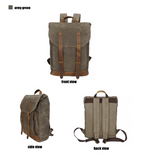 Waxed Canvas and Leather Back Pack|Sach Gefn Canfas Cwyr a Lledr - Lledar