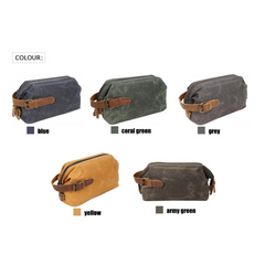 Waxed Canvas Washbag|Bag Ymolchi Cynfas Cwyr