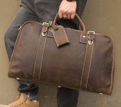 Tegid Crazy Horse Mid Brown Travel Bag|Bag Teithio Crazy Horse Tegid