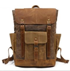 Boise Coffee Waxed Canvas and Leather Back Pack|Sach Gefn Canfas Cwyr a Lledr Boise