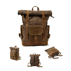 Afan Coffee Waxed Canvas and Leather Back Pack|Sach Gefn Canfas Cwyr a Lledr Afan