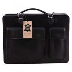 Black Fellini Briefcase Laptop Bag|Bag Dogfennau Fellini Du