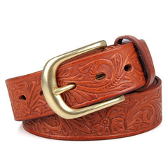 Tan Patterned Leather Belt|Belt Lledr Tan Patrymog