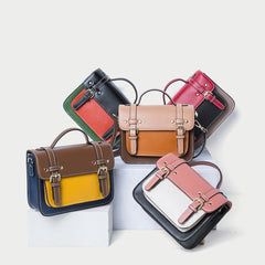 Multi Colour Leather Satchel|Satchel Lledr Amryliw