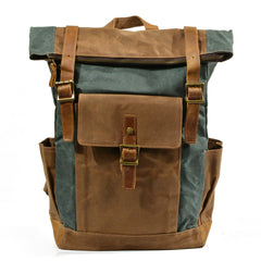 Gwydir Waxed Canvas and Leather Back Pack|Sach Gefn Canfas Cwyr a Lledr Gwydir