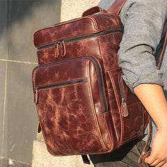 Pyre Crackle Leather Back Pack|Bag Cefn Pyre