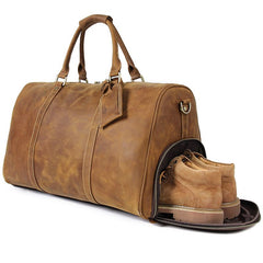 Deluxe Idris Crazy Horse Tan Brown Travel Bag|Bag Teithio Crazy Horse Idris