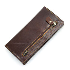 Coffee Slim Leather Wallet|Waled Dennau Lledr