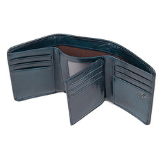 RFID Blue Leather Wallet|Waled Lledr Las RFID