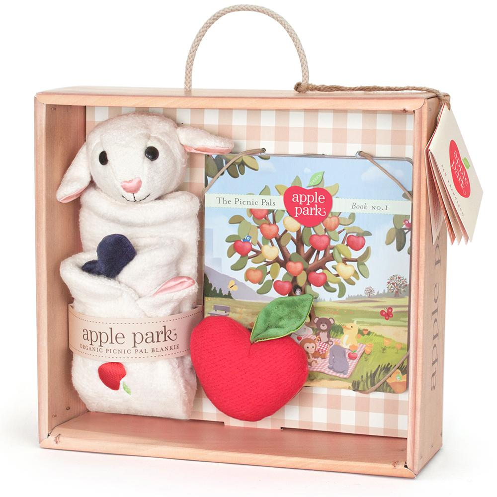 Apple Park Lamby Blankie, Book and Rattle Gift Crate - Strive Organic