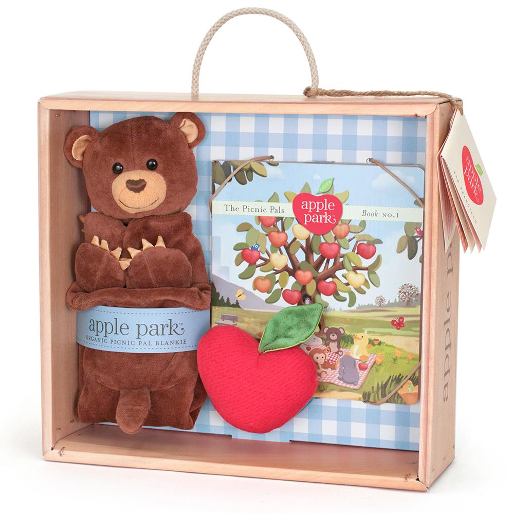Apple Park Cubby Blankie, Book and Rattle Gift Crate - Strive Organic