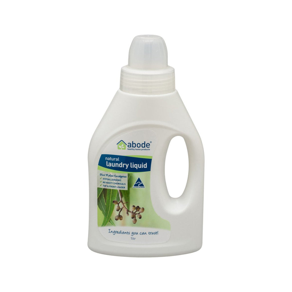 Abode Laundry Liquid (Front & Top Loader) Blue Mallee Eucalyptus 1L - Strive Organic