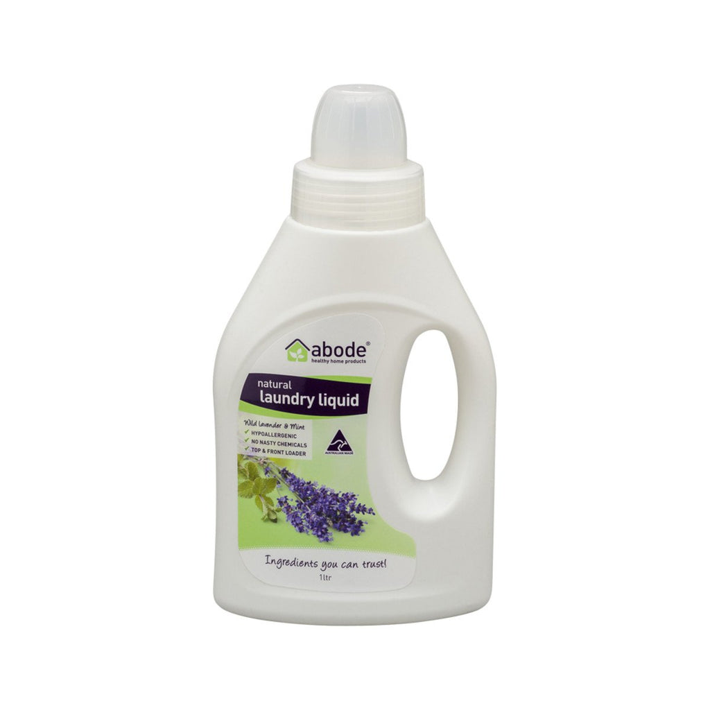 Abode Laundry Liquid (Front & Top Loader) Wild Lavender Mint 1L - Strive Organic