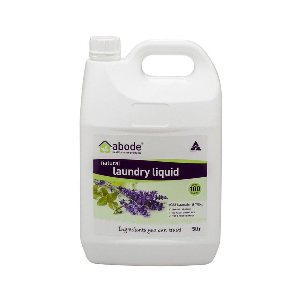 Abode Laundry Liquid (Front & Top Loader) Wild Lavender Mint 5L - Strive Organic