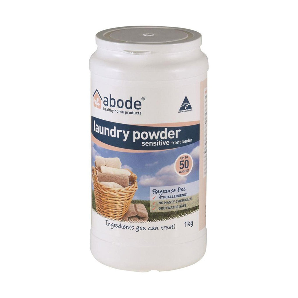 Abode Laundry Powder (Front & Top Loader) Zero 1kg - Strive Organic
