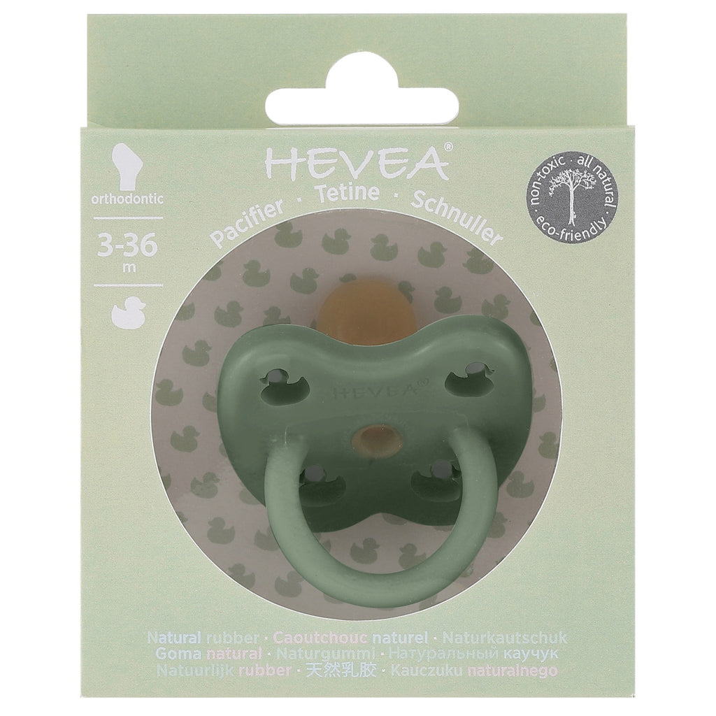 Hevea Natural Rubber Round Pacifier (Moss Green) 0-3 months