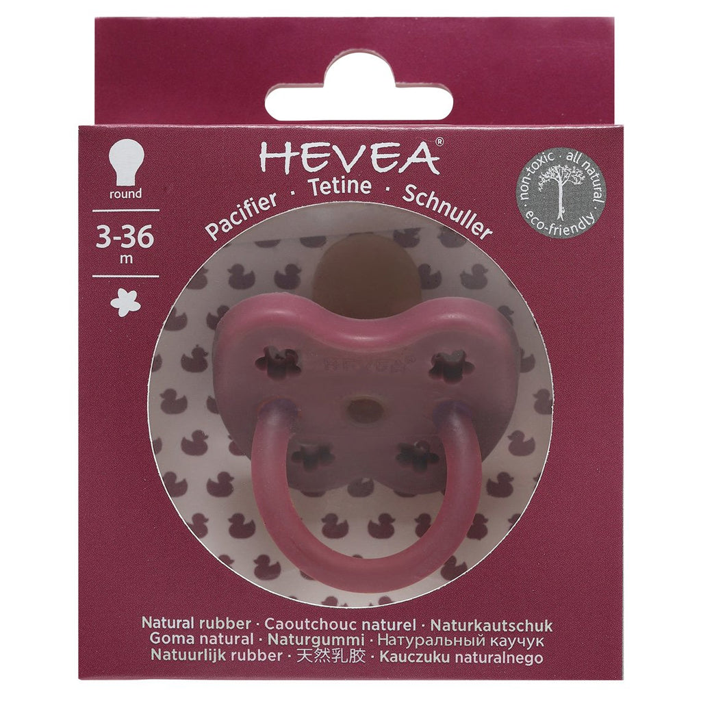 Hevea Coloured Natural Rubber Orthodontic Pacifier (Ruby) 3-36 months - Strive Organic