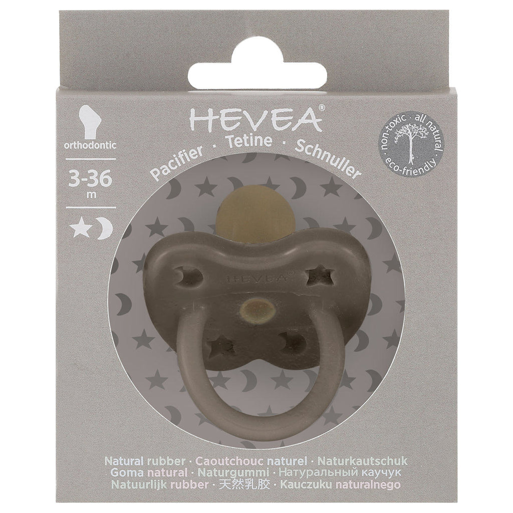 Hevea Coloured Natural Rubber Orthodontic Pacifier (Shiitake Grey) 3-36 months - Strive Organic