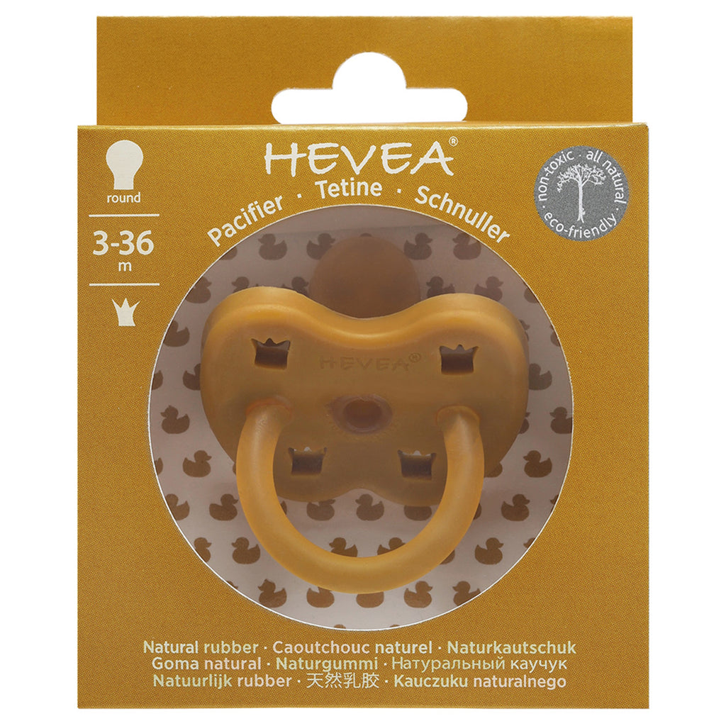 Hevea Natural Rubber Round Pacifier (Turmeric) 3-36 months